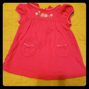 Newborn pink dress with floral applique